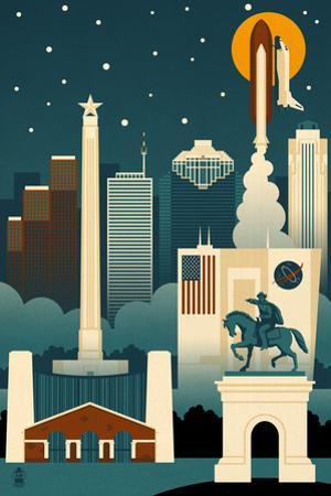 Houston, Texas - Retro Skyline (no text) by Lantern Press