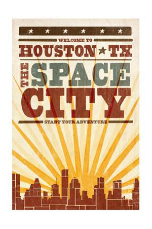 Houston, Texas - Skyline and Sunburst Screenprint Style by Lantern Press