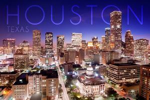 Houston, Texas - Skyline at Night by Lantern Press
