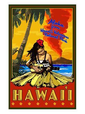 Hula Girl and Ukulele - Hawaii Volcanoes National Park by Lantern Press