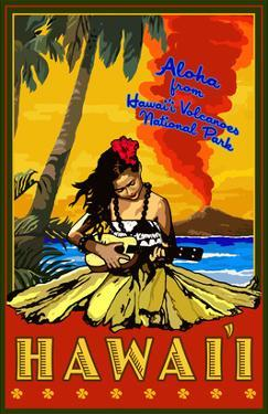Hula Girl and Ukulele - Hawaii Volcanoes National Park by Lantern Press