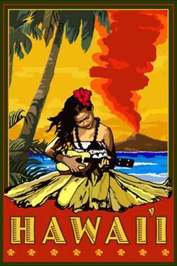 Hula Girl and Ukulele - Hawaii by Lantern Press