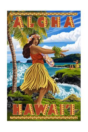 Hula Girl on Coast - Aloha Hawaii by Lantern Press