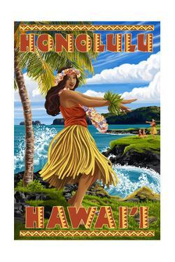 Hula Girl on Coast - Honolulu, Hawaii by Lantern Press