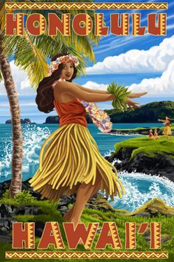 Hula Girl on Coast - Honolulu, Hawaii by Lantern Press