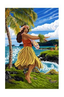 Hula Girl on Coast by Lantern Press