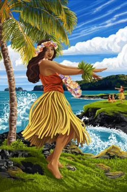 Hula Girl on Coast by Lantern Press