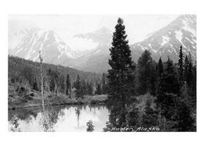 Hunter, Alaska - View of Mountains and a Lake by Lantern Press