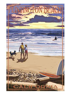Huntington Beach, California - Sunset Beach Scene by Lantern Press