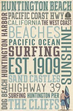 Huntington Beach, California - Typography by Lantern Press