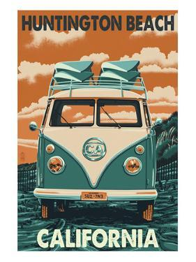 Huntington Beach, California - VW Van by Lantern Press