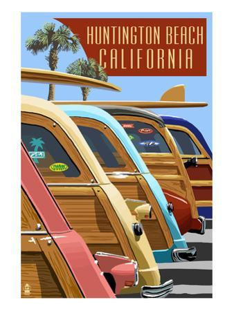 Huntington Beach, California - Woodies Lined Up by Lantern Press