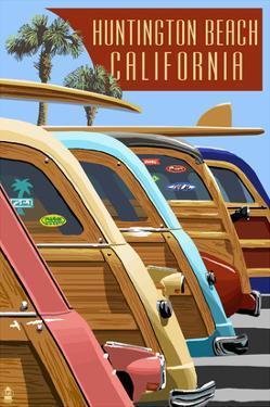 Huntington Beach, California - Woodies Lined Up by Lantern Press