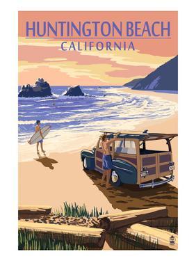 Huntington Beach, California - Woody on Beach by Lantern Press