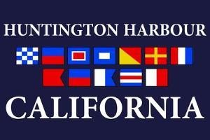Huntington Harbour, California - Nautical Flags by Lantern Press