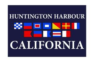 Huntington Harbour, California - Nautical Flags by Lantern Press