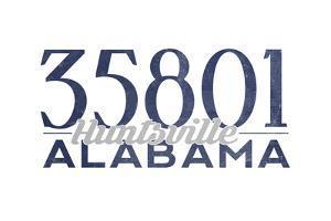 Huntsville, Alabama - 35801 Zip Code (Blue) by Lantern Press