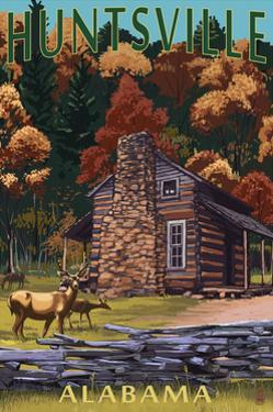 Huntsville, Alabama - Deer Family and Cabin Scene by Lantern Press