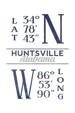 Huntsville, Alabama - Latitude and Longitude (Blue) by Lantern Press