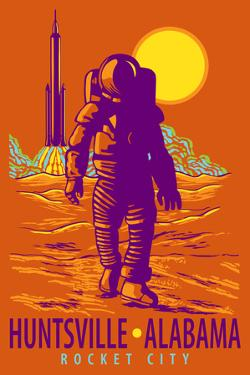 Huntsville, Alabama - Rocket City - Astronaut and Rocket by Lantern Press
