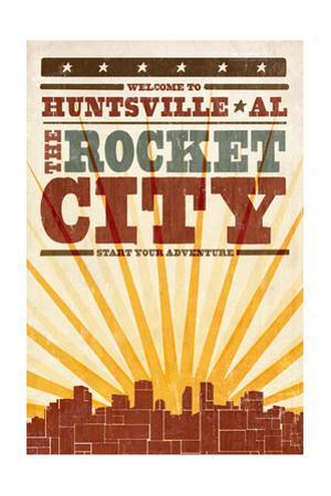 Huntsville, Alabama - Skyline and Sunburst Screenprint Style