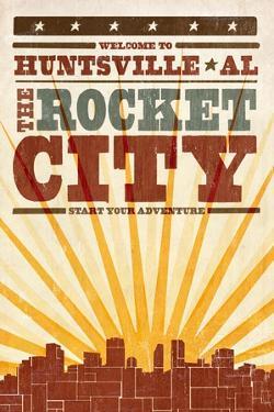Huntsville, Alabama - Skyline and Sunburst Screenprint Style by Lantern Press
