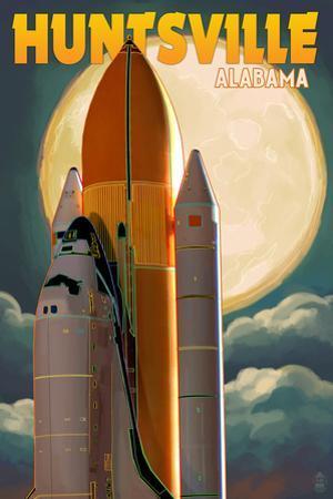 Huntsville, Alabama - Space Shuttle and Full Moon