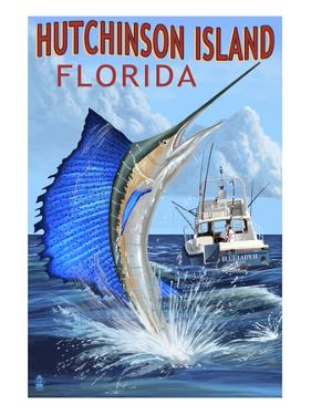 Hutchinson Island , Florida - Sailfish Fishing Scene by Lantern Press