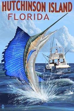 Hutchinson Island , Florida - Sailfish Fishing Scene by Lantern Press
