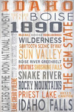 Idaho - Barnwood Typography by Lantern Press