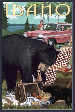 Idaho - Bear and Picnic Scene by Lantern Press