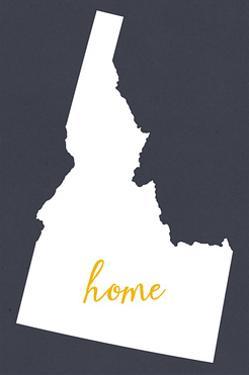 Idaho - Home State- White on Gray by Lantern Press