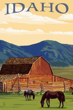Idaho - Horses and Barn by Lantern Press