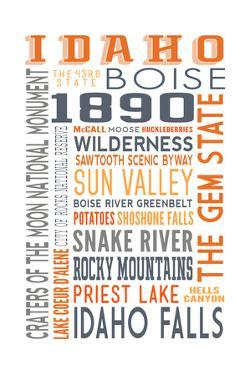 Idaho - Typography by Lantern Press
