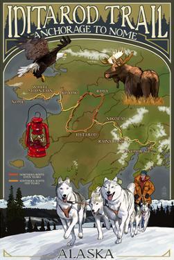 Iditarod Trail Topographic Map - Alaska by Lantern Press