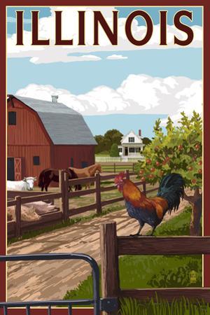 Illinois - Barnyard Scene by Lantern Press