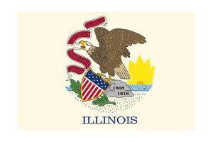 Illinois State Flag by Lantern Press