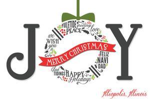 Illiopolis, Illinois - Joyful Holiday Greetings (white background) by Lantern Press
