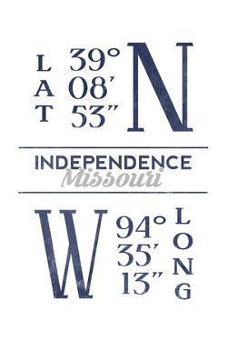Independence, Missouri - Latitude and Longitude (Blue) by Lantern Press