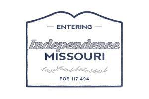 Independence, Missouri - Now Entering (Blue) by Lantern Press