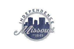 Independence, Missouri - Skyline Seal (Blue) by Lantern Press