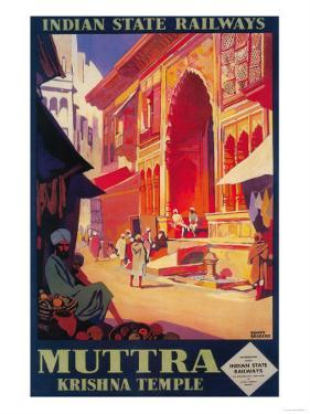 India - Muttra Krishna Temple Travel Poster by Lantern Press