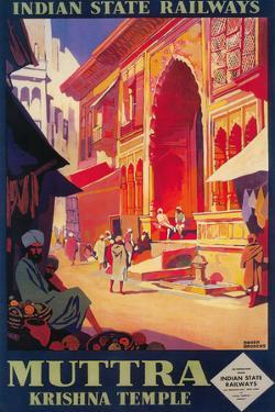 India - Muttra Krishna Temple Travel Poster by Lantern Press