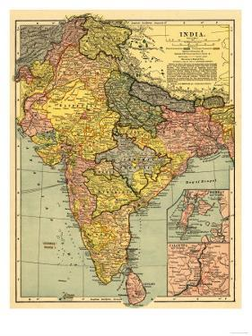 India - Panoramic Map by Lantern Press