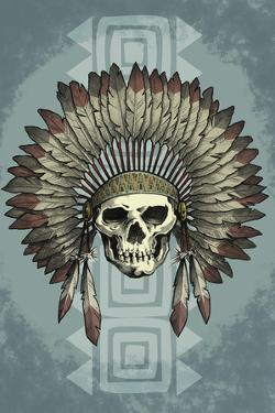 Indian Chief Skull and Headdress by Lantern Press