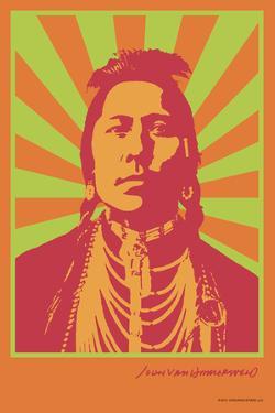 Indian Portrait - Green and Orange - John Van Hamersveld Poster Artwork by Lantern Press
