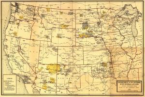 Indian Reservations West of the Mississippi - Panoramic Map by Lantern Press