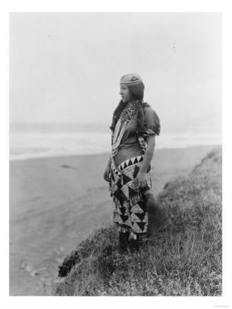 Indian Woman in Primitive Dress Edward Curtis Photograph by Lantern Press