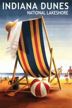 Indiana Dunes National Seashore, Indiana - Beach Chair and Ball by Lantern Press