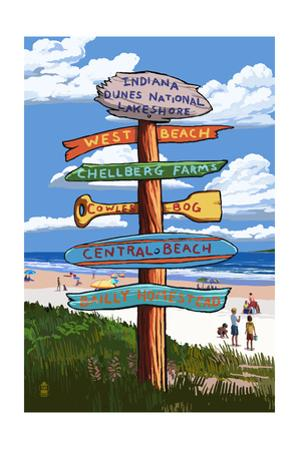 Indiana Dunes National Seashore, Indiana - Destination Signpost by Lantern Press